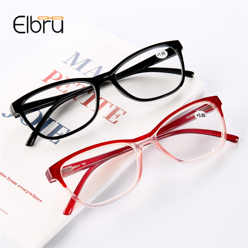 Elbru Ultra-light Black Red Half Frame Reading Glasses Presbyopic Eyewear Male Female Far Sight Glasses With Strength +1.0 +4.0