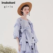 Imakokoni синий топ в горошек оригинальный дизайн японском стиле