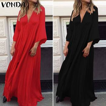 VONDA Summer Dress 2019 Sexy 3/4 Sleeve V Neck Solid Color Party Eveing Dresses Loose Bohemian Vestidos Plus Size Sundress S-5XL 1