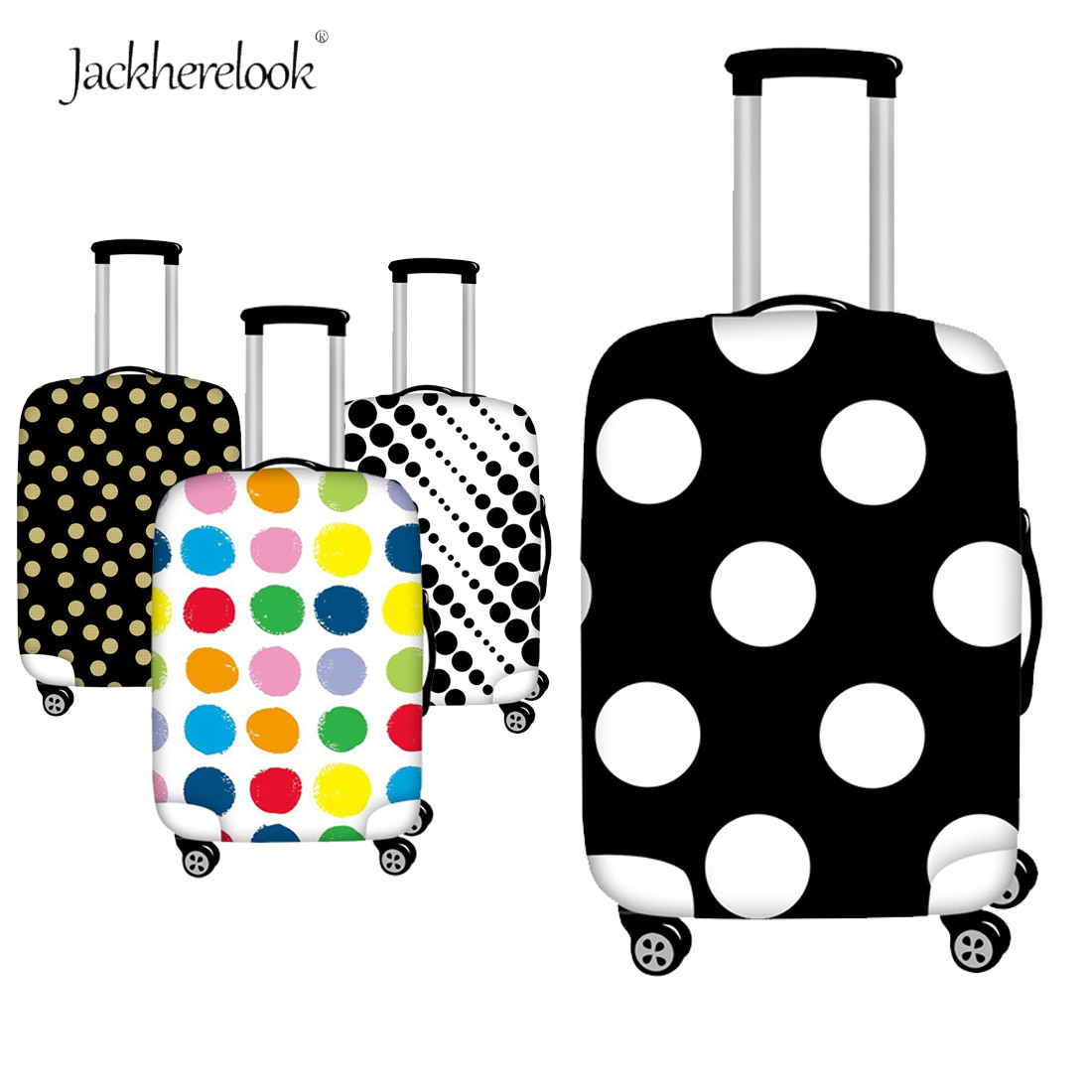 Jackherelook Black White Dot Travel Suitcase Cover Colorful Dot Printed Luggage Cover Bag Thicken Trolley Cover Rainbow Dots Bag