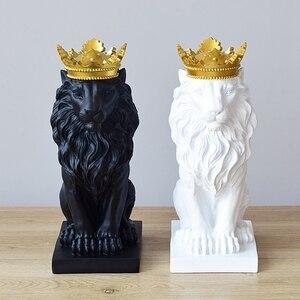 Image 1 - Statue de Lion couronne en résine