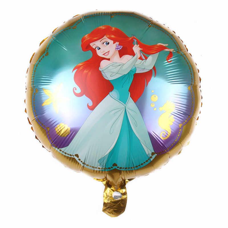 1 Pc Putaran 18 Inci Belle Cinderella Salju Elsa Putri Foil Balon Bayi Pesta Ulang Tahun Anak-anak Helium Bola mainan