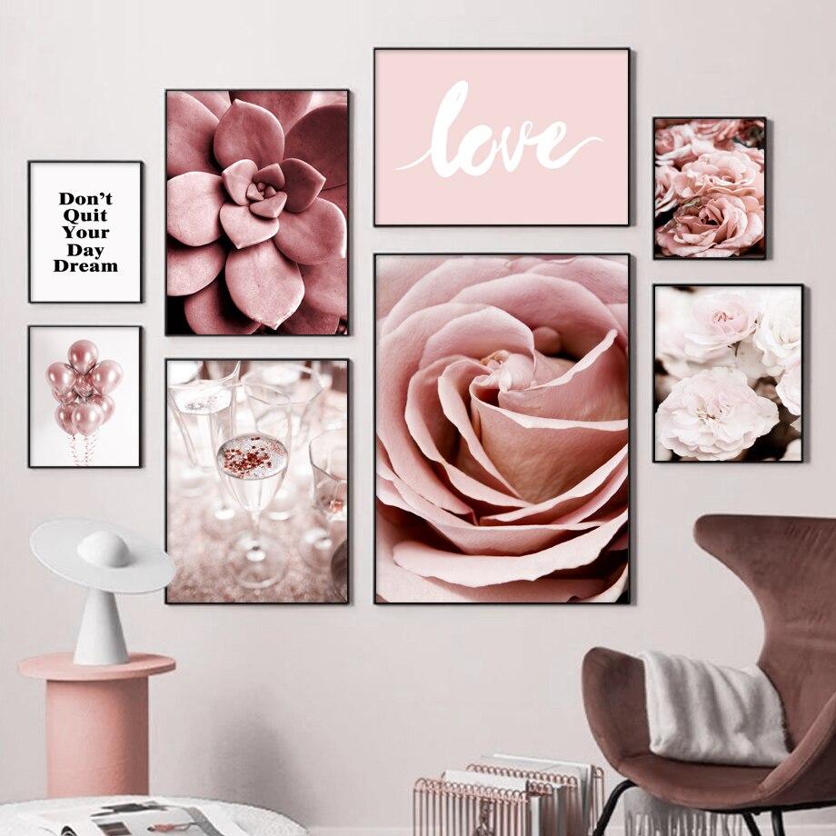 Cor-de-rosa peônia flor suculentas amor citações pintura da lona parede nordic posters e impressões fotos de parede para sala estar decoração