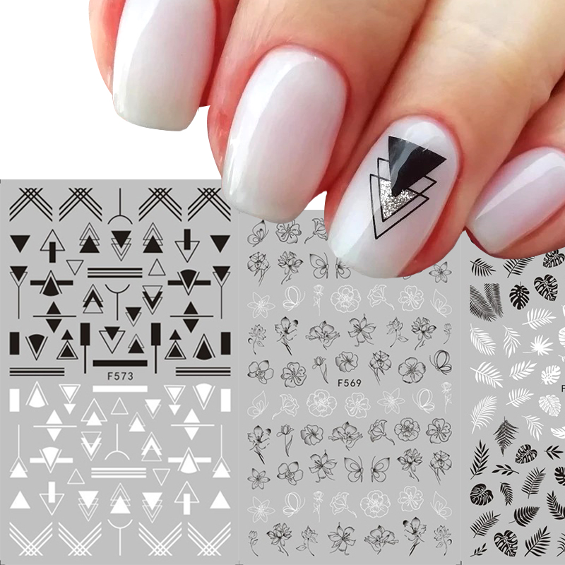 1 Pcs 3D Nail Sticker Black White Sliders Flower Leaf Geometry Adhesive Nail Decals Foil Design Manicure Nail Art Decorations
