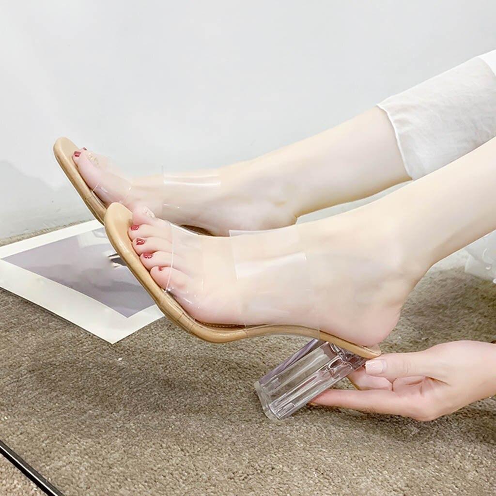 Женские прозрачные шлепанцы; сандалии; Летняя обувь; прозрачные туфли-лодочки; прозрачная обувь на высоком каблуке