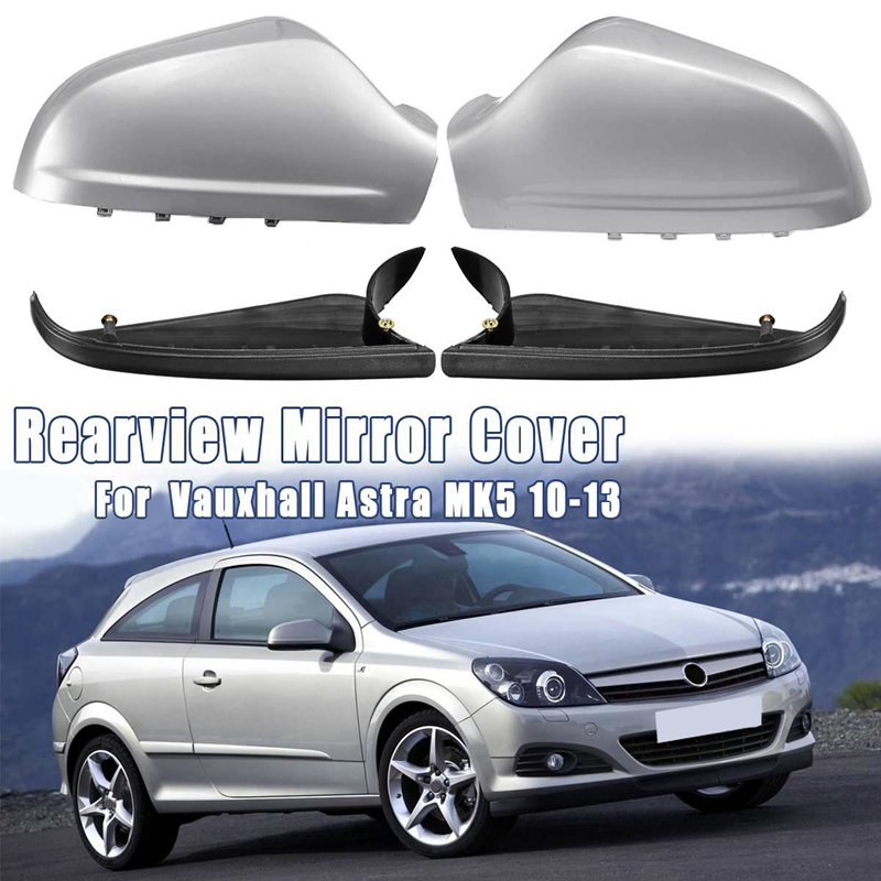 1 Pair Door Side Mirror Housing Wing Mirror Cover for Vauxhall Astra H Mk5 2010-2013 Gloss Silver