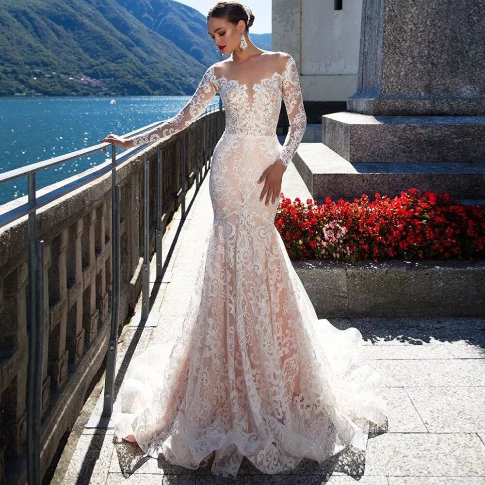 2019 кружево свадебное платье с длинным рукавом Сексуальная Vestido de русалка Sereia просвечивающей спиной и подолом, для Noiva роскошный невесты