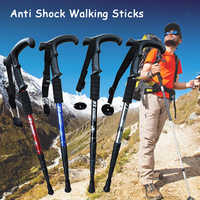 1pc Anti Shock Hike Walking Stick Nordic Walking Cane Aluminum Camp Telescopic Baton Outdoor Hiking Poles Crutches