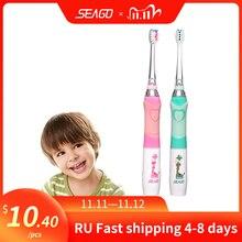 Seago escova de dentes elétrica impermeável, escova de dentes profissional macia de desenho animado para bebês, higiene oral, cuidados com os dentes