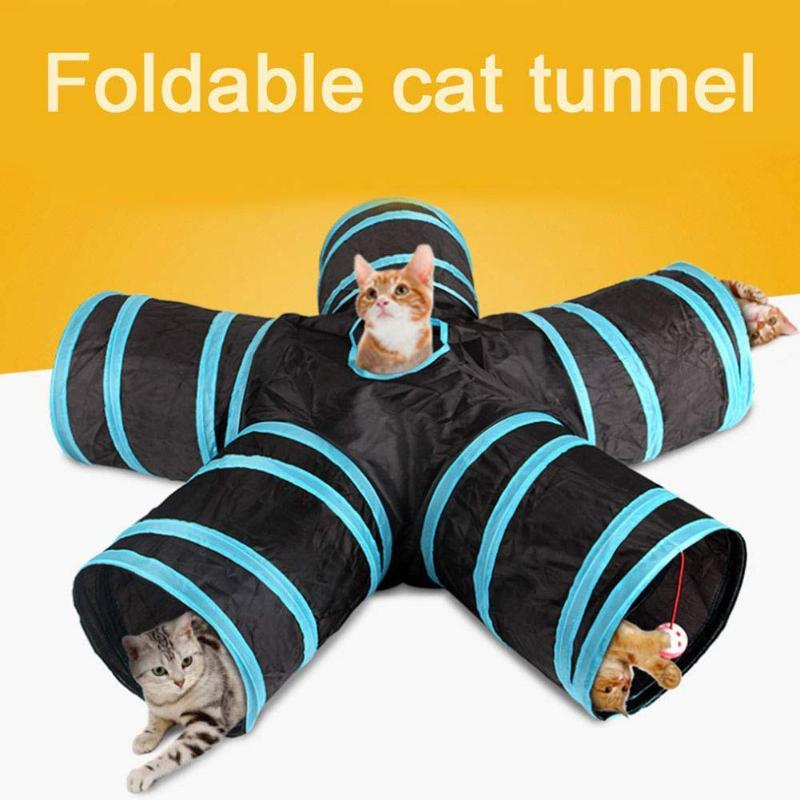 2/3/5 Holes Foldable Pet Cat Tunnel Toys Kitten Rabbit Indoor Outdoor Hanging Ball Training Toys Pla image