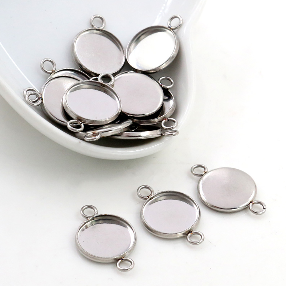 20pcs/Lot 8mm 10mm 12mm Inner Size Stainless Steel Material Two Loops Style Cabochon Base Cameo Setting Charms Pendant Tray