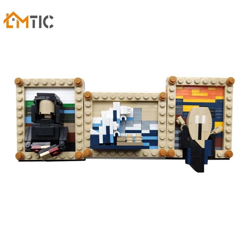 World Famous Painting Vincent Van Gogh Self-Portrait MOC Building Blocks Set STEM Gift Toys for Kids Boys Girls Compatible with Lego Building Set Toys Educational Classic Toy Bricks