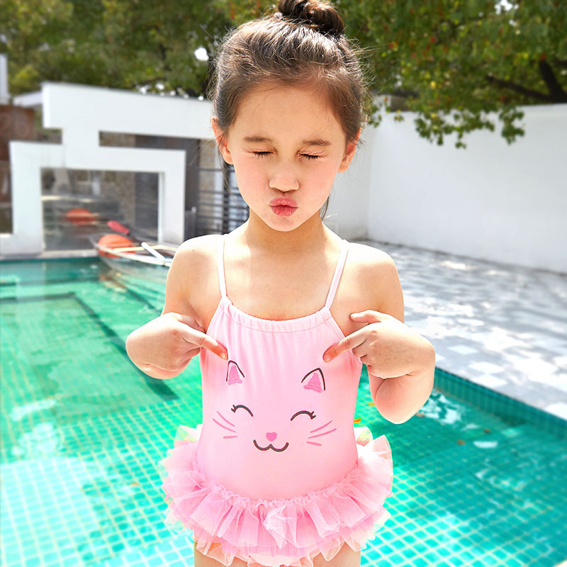 2019 New Style KID'S Swimwear Big Boy Pink Cat Mesh Dress Cute GIRL'S One-piece Hot Springs Swimwear