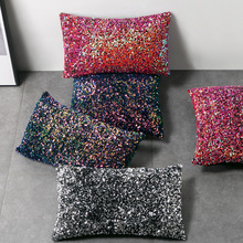 Single-sided Sequins Decorative Throw Pillows Case Blue Black Red Green Colorful Fashion Designers Cushion Covers for Sofa Car