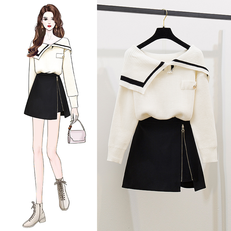 Autumn Winter Outside Turn-Down Collar Thickening Sweater Dress Knitting A-Line Mini Skirt Suit Female 2 Piece Casual Sets