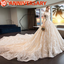 цена на OllyMurs Noble Luxury Church Wedding Dress Empire Off The Shoulder Ball Gown Back Lace Up Cathedral Lacework Applique