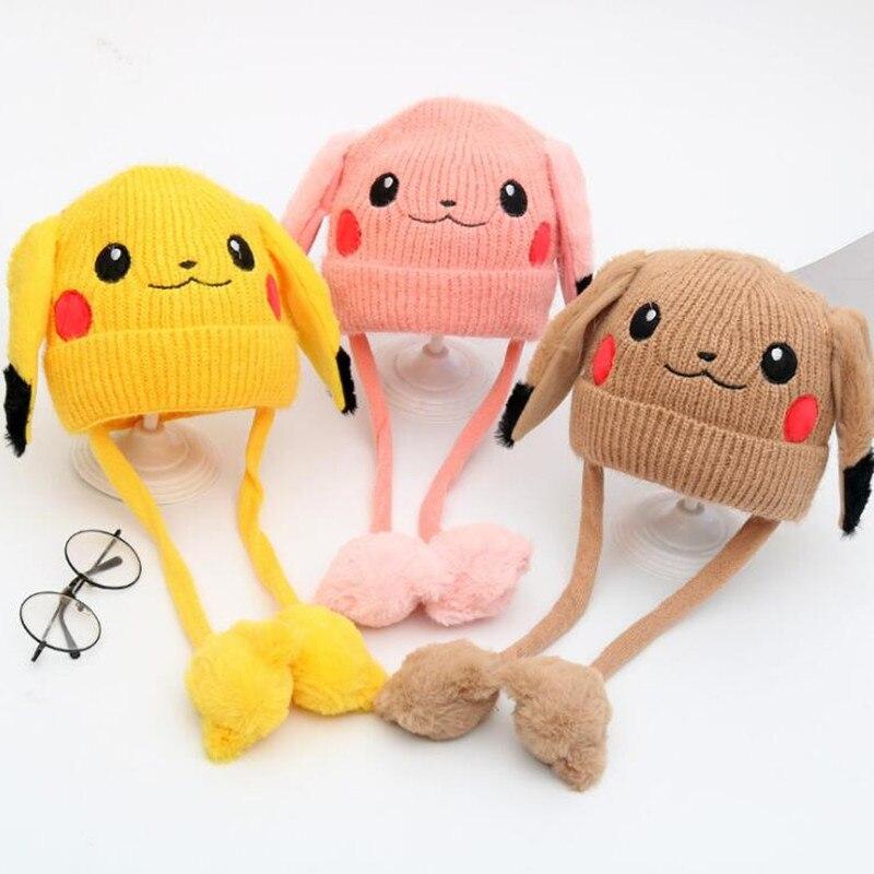 anime-kids-font-b-pokemon-b-font-pikachu-plush-hat-cosplay-cartoon-cute-warm-cap-ears-moving