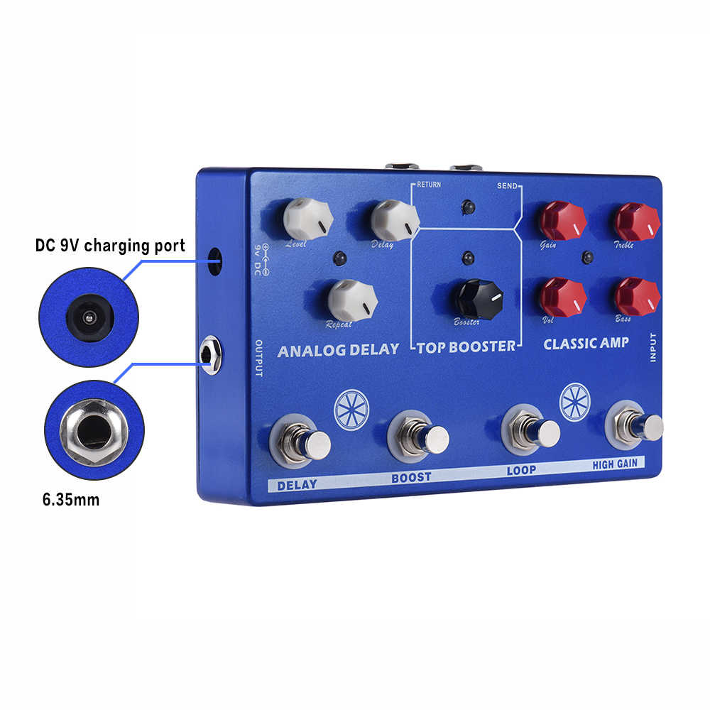 متعددة الآثار 4-في-1 الغيتار لهجة MAKESTATON تأثير دواسة المعالج الكلاسيكية أمبير الداعم التناظرية تأخير FX حلقة EQ