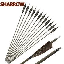 6/12Pcs 30 Archery Pure Carbon Arrows SP350 Wood Skin Shaft Turkey Feathers Broadhead Arrow Hunting Shooting Accessories