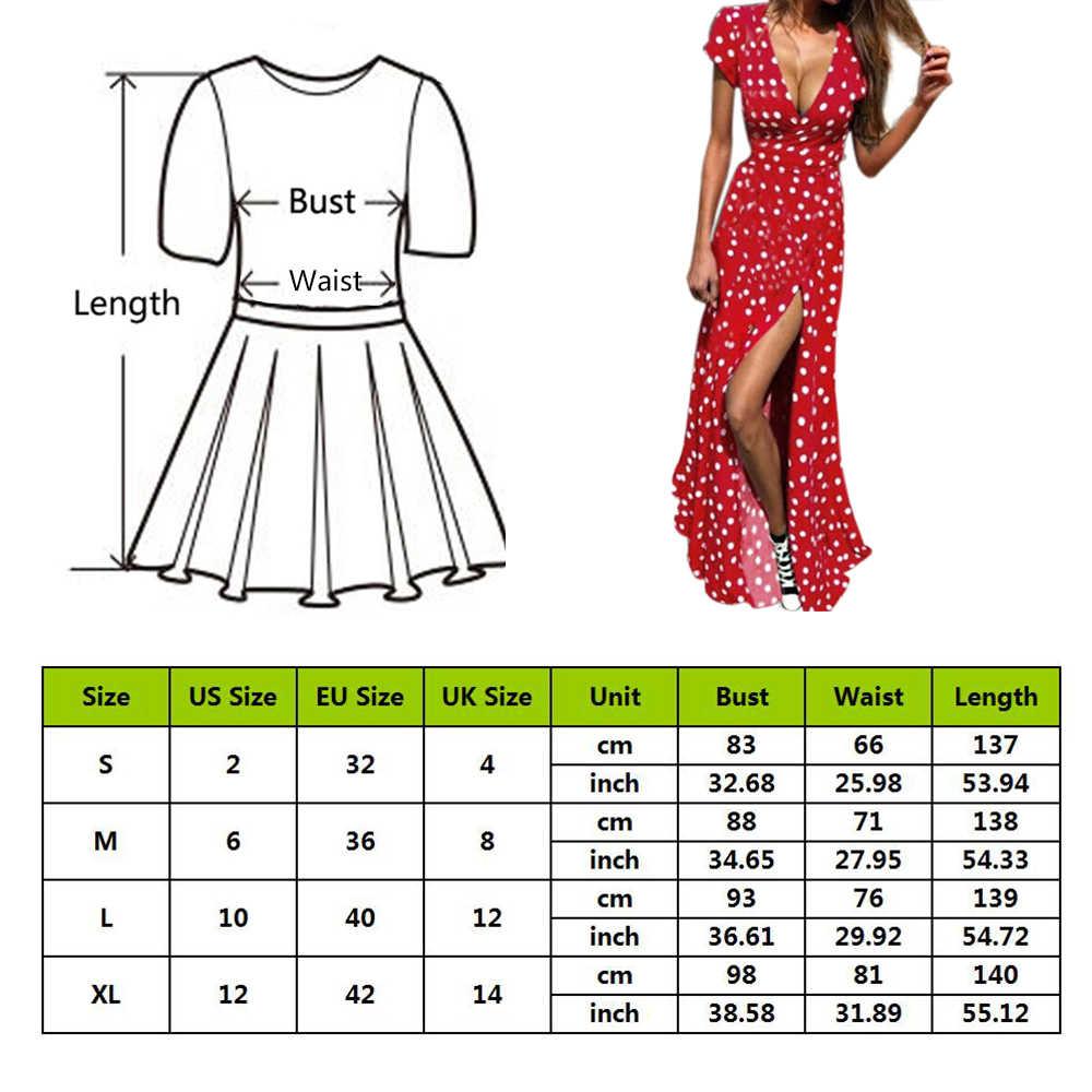 Frauen Polka Dot Hohe Split Kleid Sommer Sexy V-ausschnitt Strand Boho Kleid Kurzarm Schärpen Maxi Lange Kleider Plus Größe