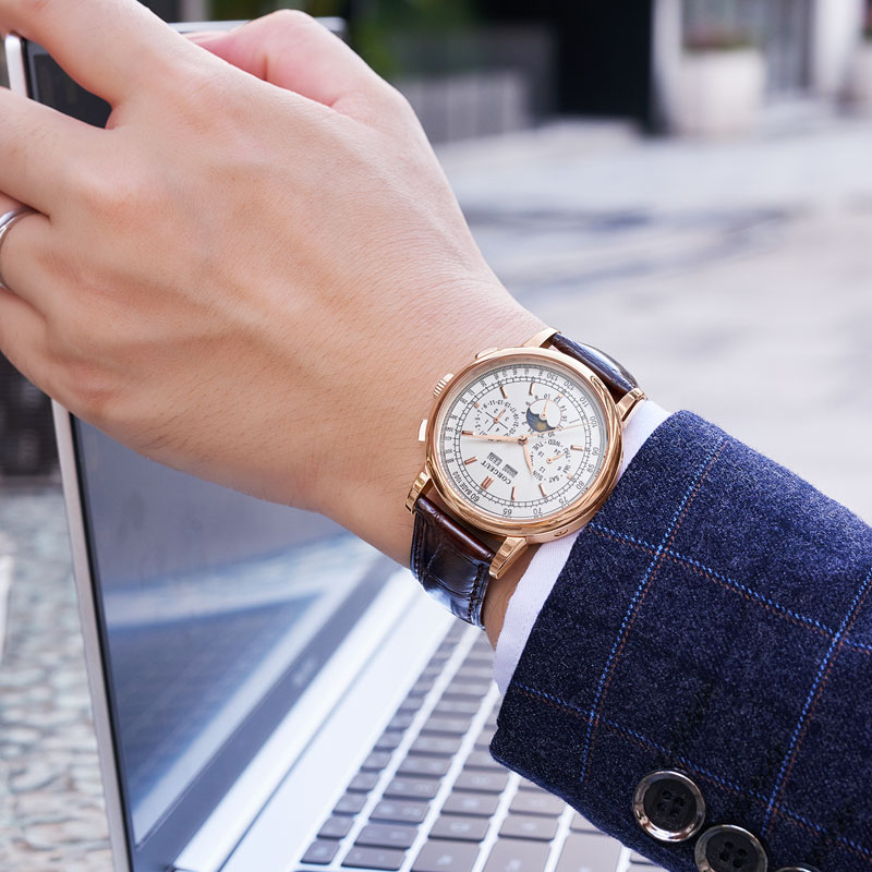 Corgeut Moon Phase Watch 42mm Mechanical Wristwatches Rosegold White Dial Year Day Month Week 316L SS Case Automatic Watch Men