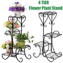 4 poziomy Metal Home nasiona kwiatów stojak na rośliny instrumenty ogrodowe garnek do przechowywania półka narzędzia ogrodnicze i sprzęt tanie tanio Piętro Chromowany Europa Plant Stand Kwiat zielonych roślin Pergola Black