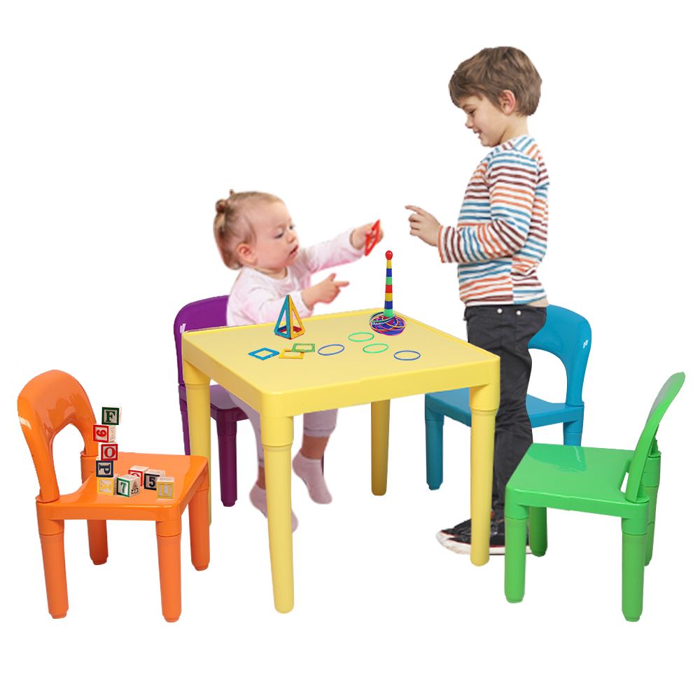 Plastic Kids Table With 4 Chairs Set For Boys Girls Toddler Reading Writing PAK55