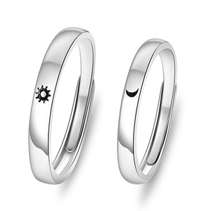 Korea Simple Couple Sun Moon Adjustable Ring Fashion Women's Wedding Anniversary Ring Jewelry Gift For Romantic Valentine's Day