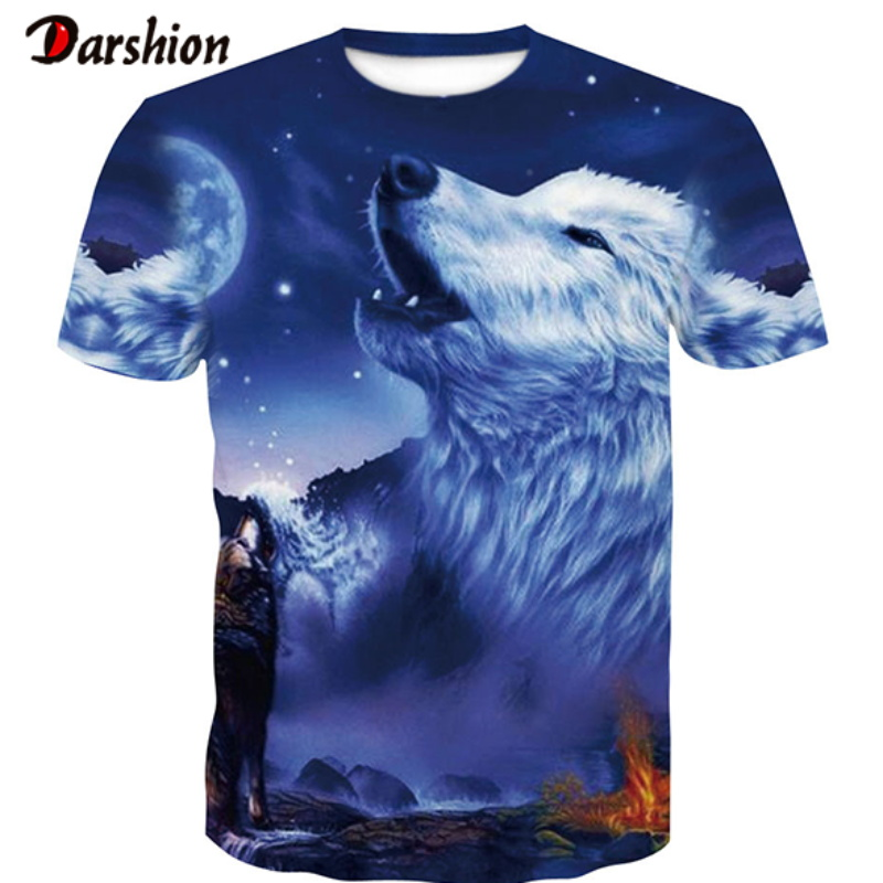 High Quality New Wolf  3d T Shirt Summer Male Fashion Tops Male Print Harajuku For Men Women Casual Anime T-Shirts Dropshipping