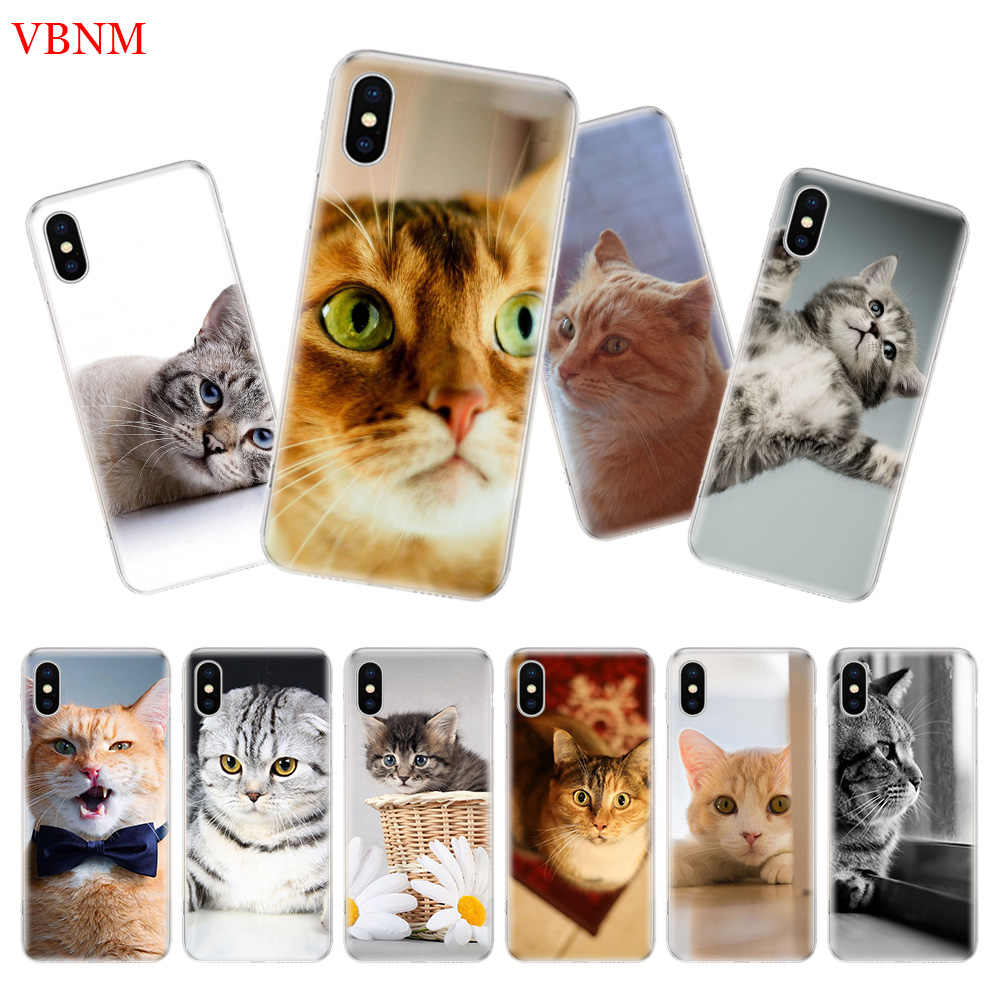 Милый кот котенок Meow задняя крышка телефона чехол для iPhone 7 8 6 6S Plus X 10 Ten XS MAX XR 5 5S SE Art Fashion Shell Coque