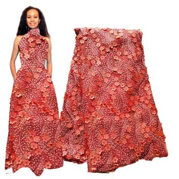 Peach Orange Wedding 3d Embroidery African Lace Fabric 2020 High Quality Lace for Nigerian Women Wedding Lace Dress