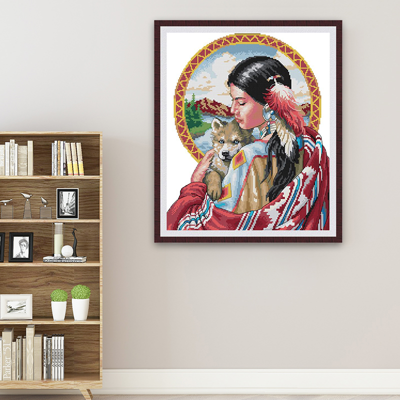 JBeautiful Indian Girl Canvas Print Cross Stitch Kit, DMC Count Chinese Cross Stitch Kit, 14ct 11ct Embroidery Kit, Needlework-1