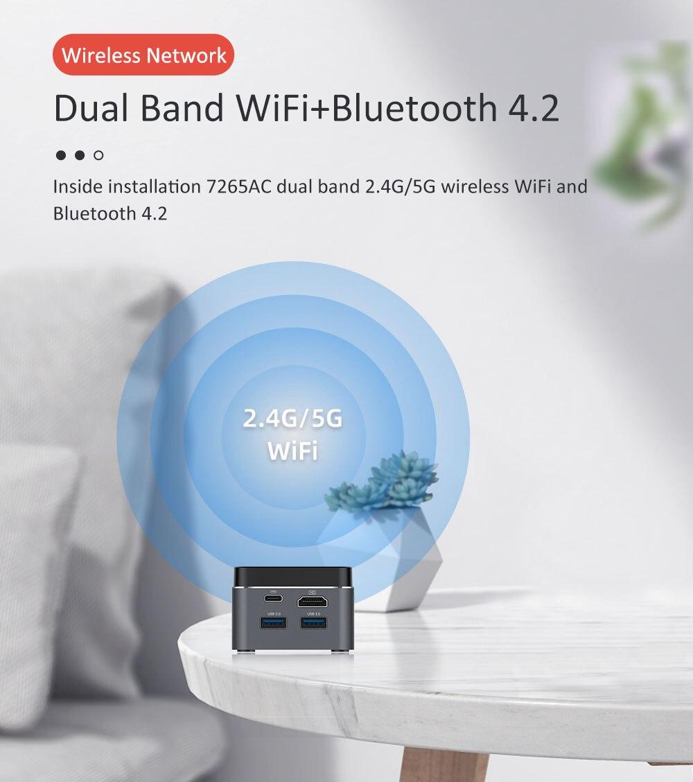 BEBEPC Portable Mini PC Intel Celeron N4100 Quad Cores 8GB LPDDR4 Windows 10 2.4G/5G Dual Band Wifi Bluetooth 4.2 HDMI 2.0 2*USB-3