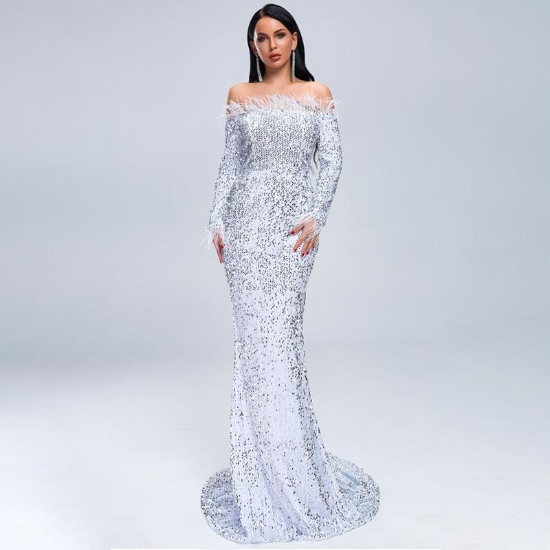 Robe de soirée femmes d'été hors épaule paillettes bal Sexy robe élégante dames plume à manches longues Maxi robe Vestdios