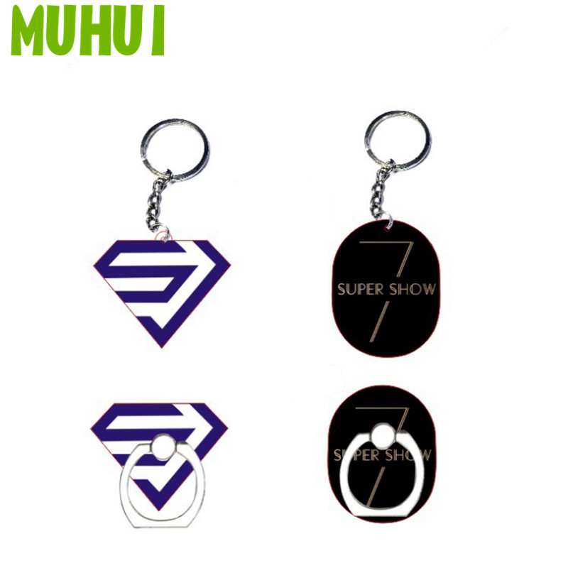 Free Shipping Kpop Super Junior Super Show 7 Acrylic KeyChain Key Ring Case 360 Degree Finger Chaverio Llavero B094