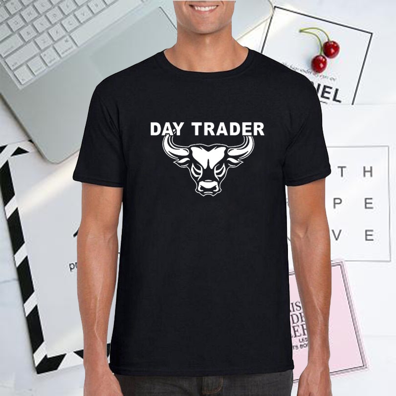 Day Trading T-shirt Bitcoin Magical Bull Stock Market T Shirt Men Fashion Graphics Tee Shirt Wall Street Funny Day Trader Tshirt image