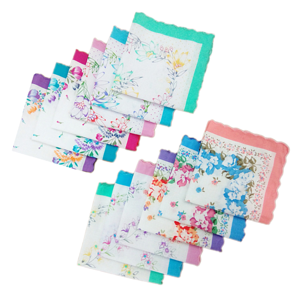 12x Women Handkerchiefs 100% Cotton Hankies Wedding  Square 30x30cm