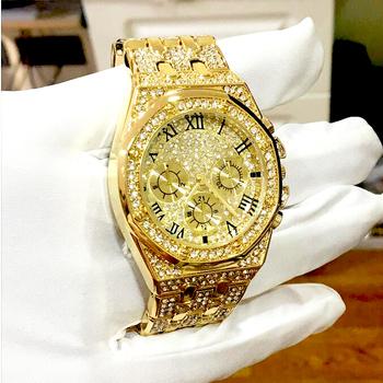 Męskie zegarki Top marka luksusowe Iced Out zegarek złoty zegarek z brylantami dla mężczyzn plac wodoodporny zegarek kwarcowy Relogio Masculino tanie i dobre opinie funmax Luxury ru QUARTZ Bransoletka zapięcie 3Bar Stop 22cm 10mm ROUND Kwarcowe Zegarki Na Rękę 42mm