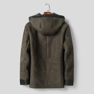 Image 2 - Dk com capuz casaco de pele de carneiro com capuz engrossar roupas de pele armygreen casual casacos de pele de qualidade superior outwear