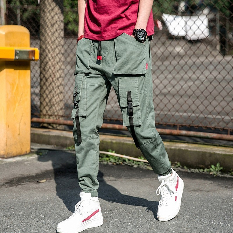 Safari Style Full Length Drawstring Waist Pockets Mens Cargo Pants Casual Streetwear Male Solid Loose Fit Trousers Plus Size 4XL