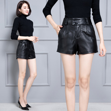 2020 Women New Real Genuine Sheep Leather Shorts KS64