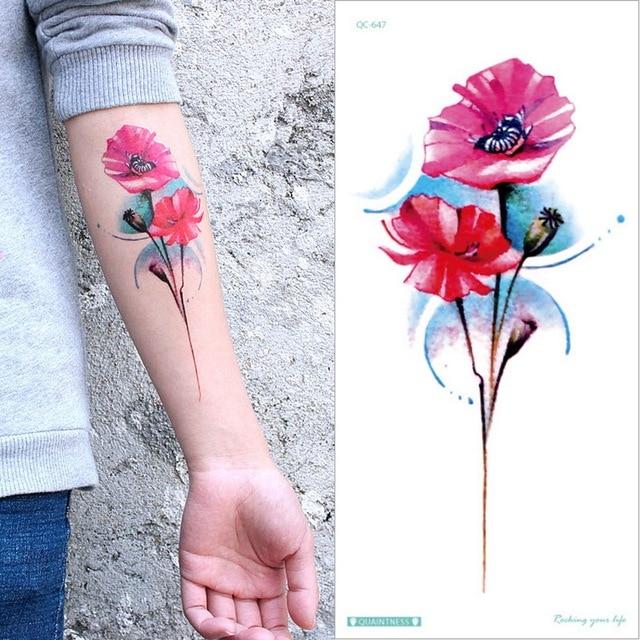 temporary armband tattoos waterproof temporary tattoo sticker flower lotus tattoo sleeve women wrist arm sleeves tatoo fake girl 3