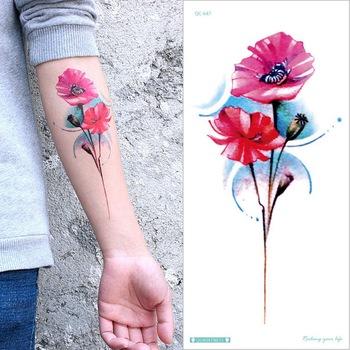 Rękawy z tatuażami nadgarstek tymczasowy tatuaż kwiat lotosu róża piwonia tatuaż kolor woda transfer fałszywy tatuaż naklejki unikalne kwiaty tanie i dobre opinie Tattrendy CN (pochodzenie) 21cm*10cm Arm sleeve tattoo Waterproof Once eco-friendly nontoxic Zhejiang China