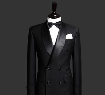 Image 2 - Custom Made Slim Fit Black 2 Piece Mens Blazer Double Breasted Suit Men Wedding Suits Groom Tuxedos For Men (Jacket+Pants+Tie)-in Suits from Men's Clothing