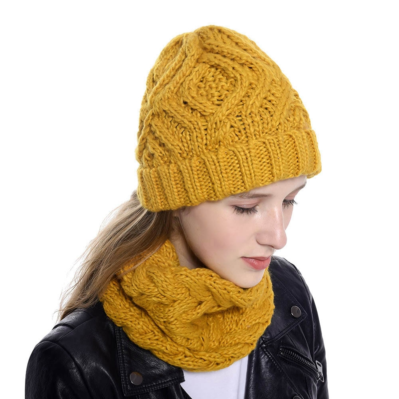Women Winter Knitted Hat And Scarf Set Solid Beanie Hat Warm Scarves Ring Cap Female Knitted Winter Set For Lady
