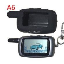 Twage a6 lcd remoto controlador chaveiro + silicone caso chave para a segurança do veículo em dois sentidos sistema de alarme carro starline a6 chaveiro