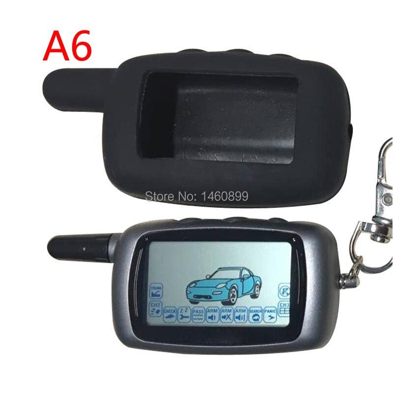 Twage A6 LCD controlador remoto llavero + silicona caso clave de SEGURIDAD DEL VEHÍCULO dos forma de sistema de alarma para coche StarLine A6 llavero