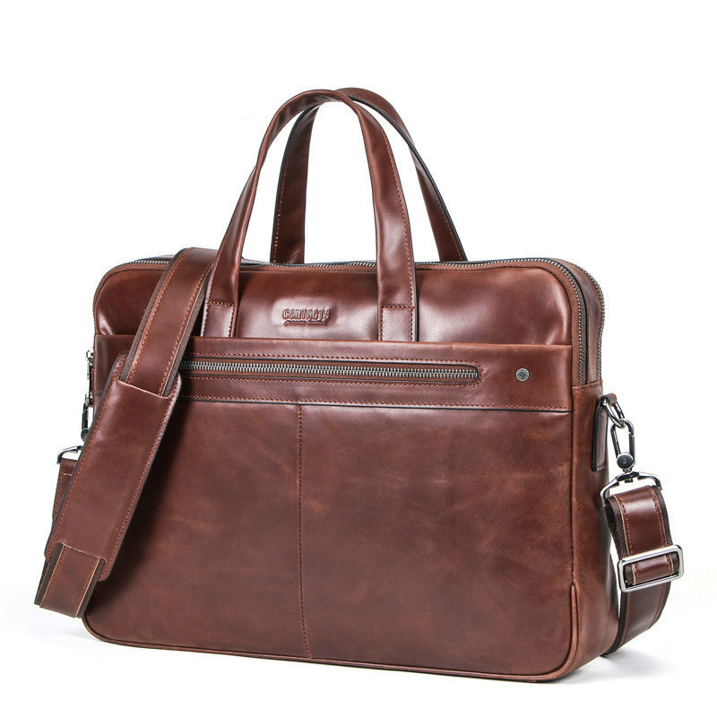 Leisure Time Genuine Leather Briefcase Mens Laptop Messenger Bags Man Handbag Can Dress 14 Inch Computer More Function Designer