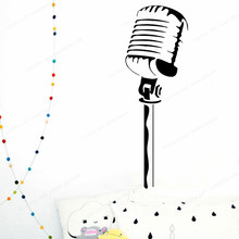 Vintage Microphone wall sticker vinyl Recording  Wall Decal Music Studio Design art mural JH400