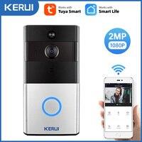 KERUI-1080P Tuya 스마트 와이파이 초인종 2MP 카메라 야외 무선 비디오 인터콤 스마트 라이프 홈 보안 도어벨 차임